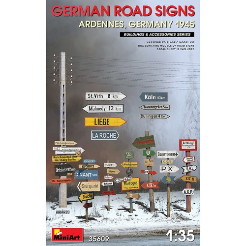 35609 1/35 German Road Sign WW2-Ardennes, German 1945  독일 아르덴느 지역