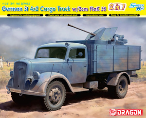 6828  1/35 German 3t 4x2 Truck w/2cm FlaK 38 (2 in 1) - Smart Kit