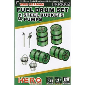 E35004  1/35 WWII German Fuel Drum and Pump Pipes and Steel Buckets Set