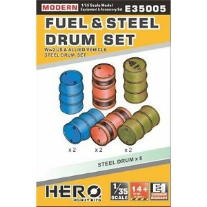 E35005  1/35 WWII Fuel & Steel Drum Set For US & Modern Allied Vehicles