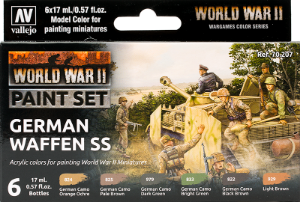 Vallejo _ 70207 Paint Set _ Flames of War Series _ WWII Paint Set German Waffen SS ( 6 Model Colors )