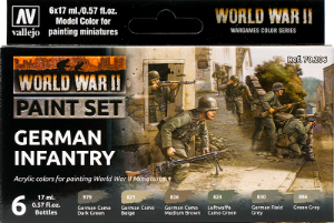 Vallejo _ 70206 Paint Set _ Flames of War Series _ WWII Paint Set German Infantry ( 6 Model Colors )